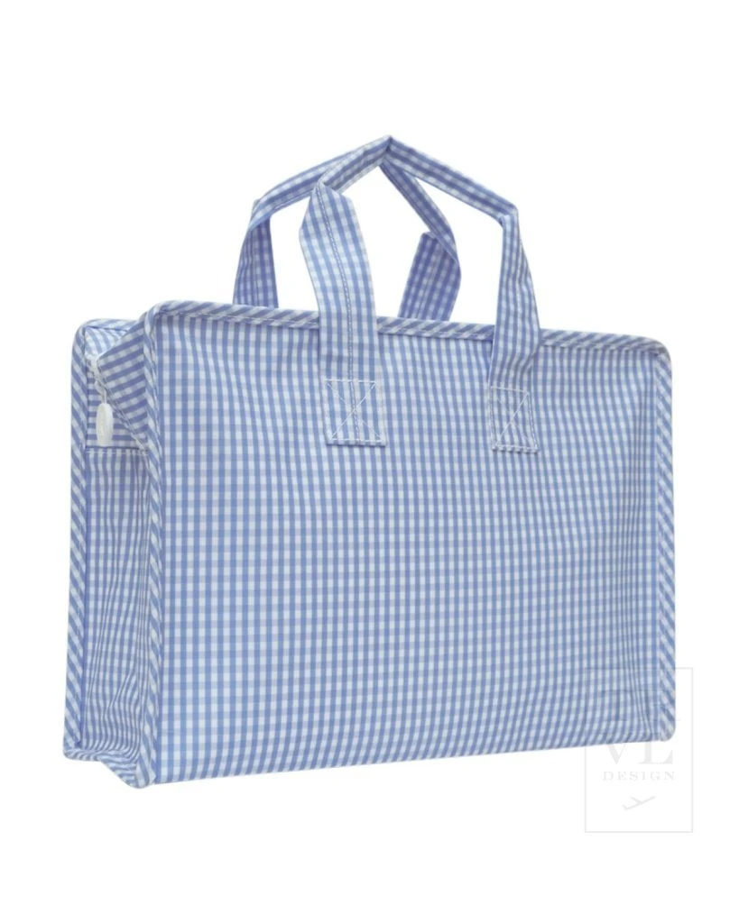 TRVL Overnight Tote - Sky Blue Gingham