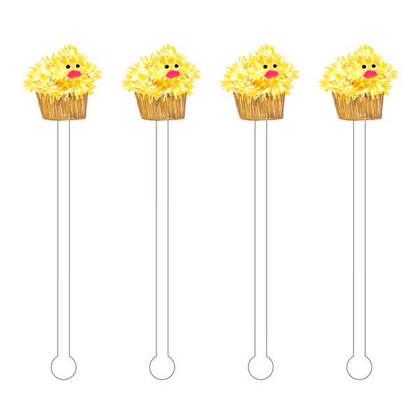 Acrylic Sticks Set of 4 - Baby Chick Cupcake