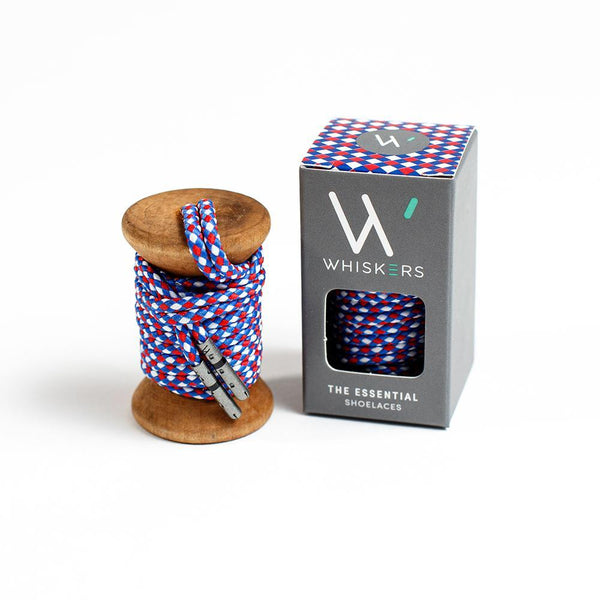 Whiskers Mens Shoe Laces - Red, White & Blue Braided