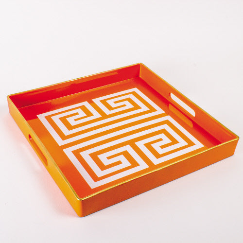 8 Oak Lane Tray - Orange Greek Key