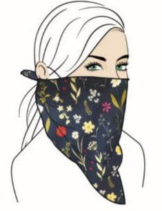 Stylish Face Mask w/Filter Pocket - Navy Floral Bandana