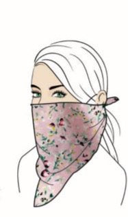 Stylish Face Mask w/Filter Pocket - Pink Floral Bandana