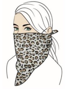 Stylish Face Mask w/Filter Pocket - Leopard Bandana