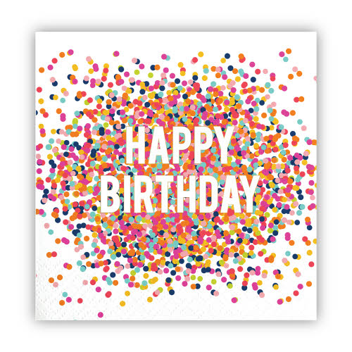 Cocktail Napkins - Happy Birthday Confetti