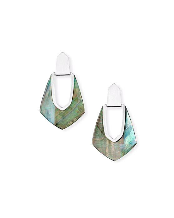 Kendra Scott Kensley Earrings - Silver Black Mother of Pearl