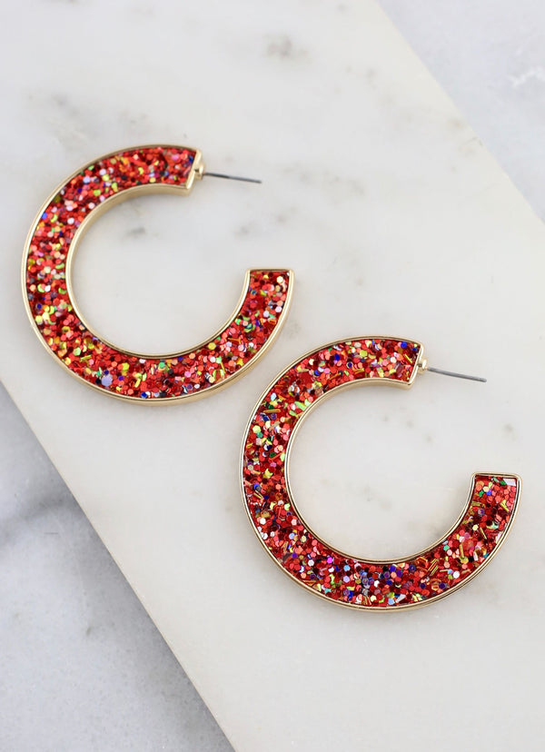 Jolly Glitter Hoop Earrings - Red
