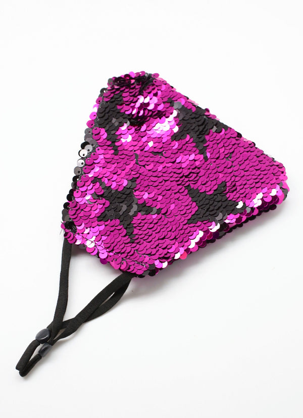Stylish Face Mask Mellor Reversible Sequin Star - Fuchsia