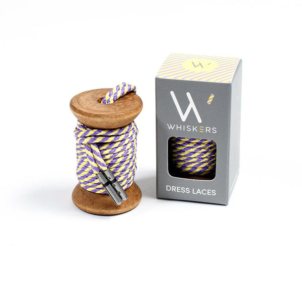 Whiskers Mens Shoe Laces - Yellow & Purple Stripe