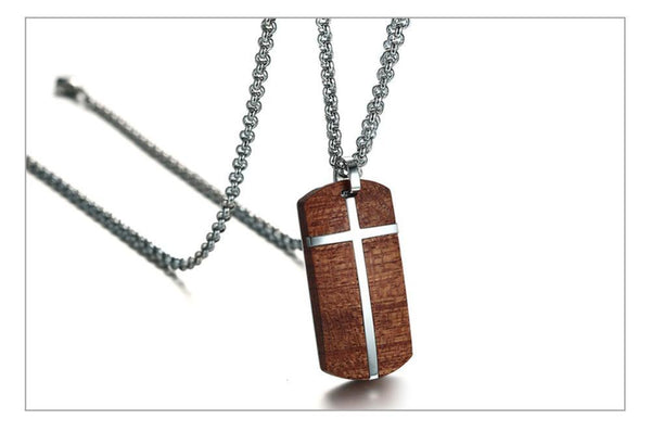 The vintage crosswood wood steel pendantnecklace for men woodchuckchucked jewelry the vintage crosswood wood steel leather pendantnecklace for men aloadofball Image collections