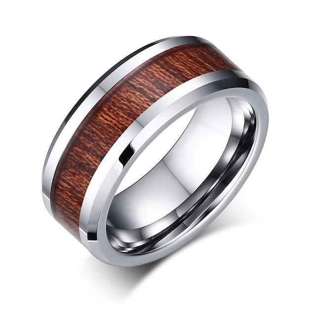 WoodChuckChucked Rings 7 / TCR017 Ironwood 2 Retro - Wood grain & Tungsten Carbide Ring