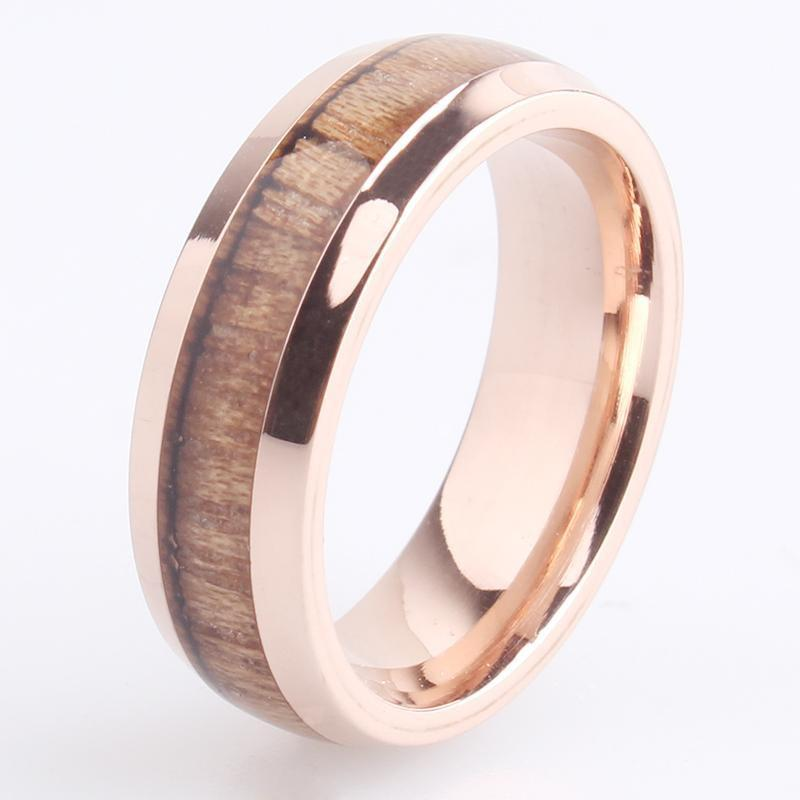 WoodChuckChucked Rings The Rose Gold Ladies IronWood Slim