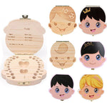 WoodChuckChucked Storage Wooden Baby Tooth Keepsake Box (in English, Spanish & Russian)