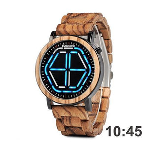 WoodChuckChucked Watch Blue The Marblewood - Digital Wooden Watches