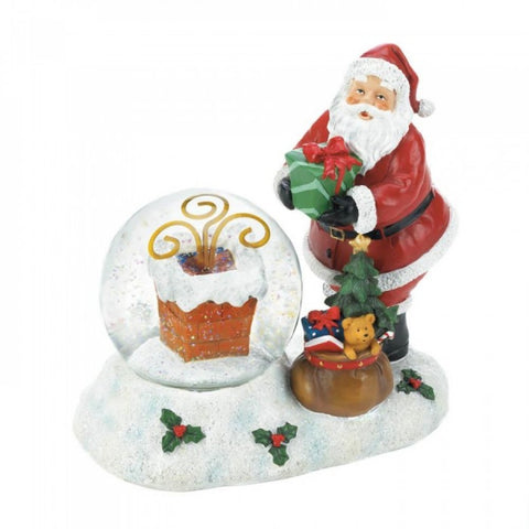 Santa And Chimney Led Snow Globe
