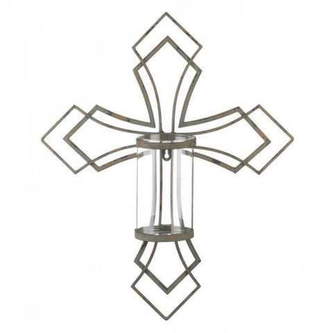 Contemporary Cross Candle Wall Sconce