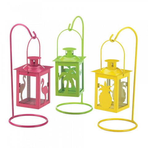 Set Of 3 Tropical Mini Lanterns