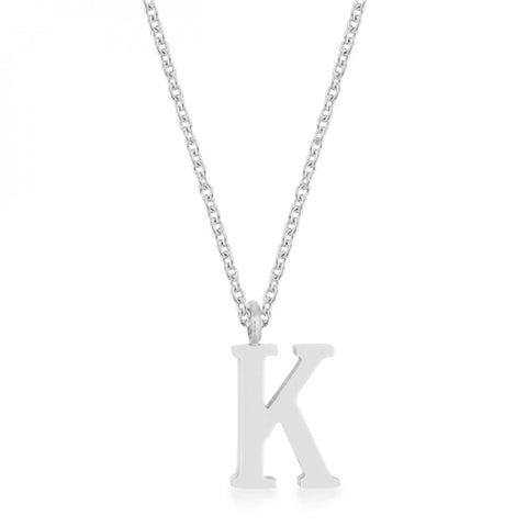 Elaina Rhodium Stainless Steel K Initial Necklace