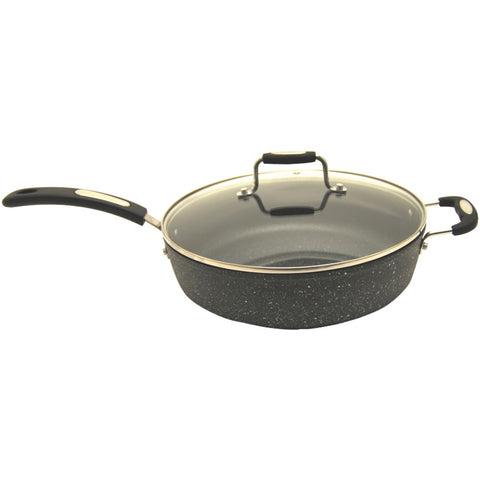 "The Rock By Starfrit The Rock By Starfrit 11"" Deep-fry Pan With Lid & Bakelite Handles"