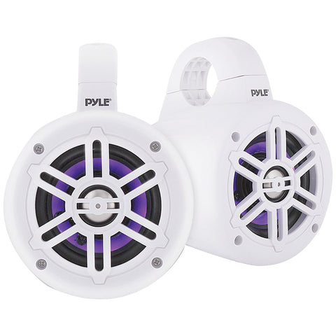 Pyle 4-inch 300-watt Waterproof Marine Wakeboard Tower Speakers With Leds (white)