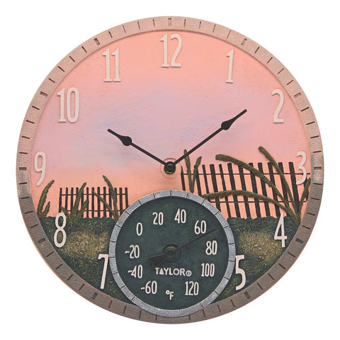 Taylor Precision Products 14-inch Sea Oats Clock With Thermometer