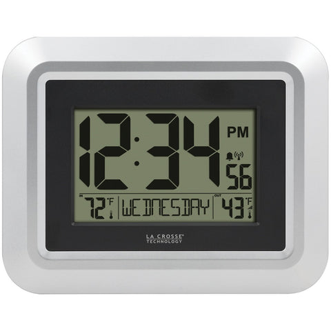 La Crosse Technology Atomic Digital Wall Clock With Indoor And Outdoor Temperature