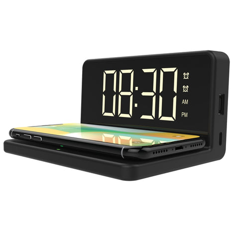 Qfx Fast Wireless Charger With Dual Alarm Clock