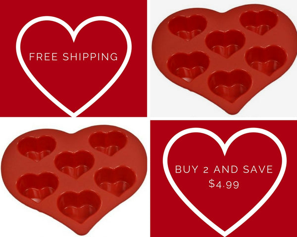 Heart-Shaped Silicone Bakeware - Buy Two!