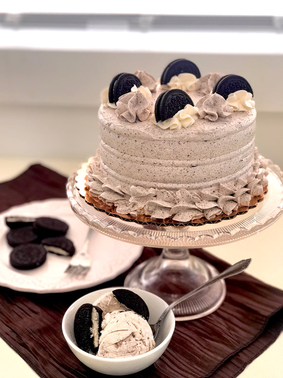 "Chocolate Oreo Cookie Dream Cake - 3 layer Mouthwatering flavor in 2 sizes. 6"" serve 12 and 8"" serves 20"