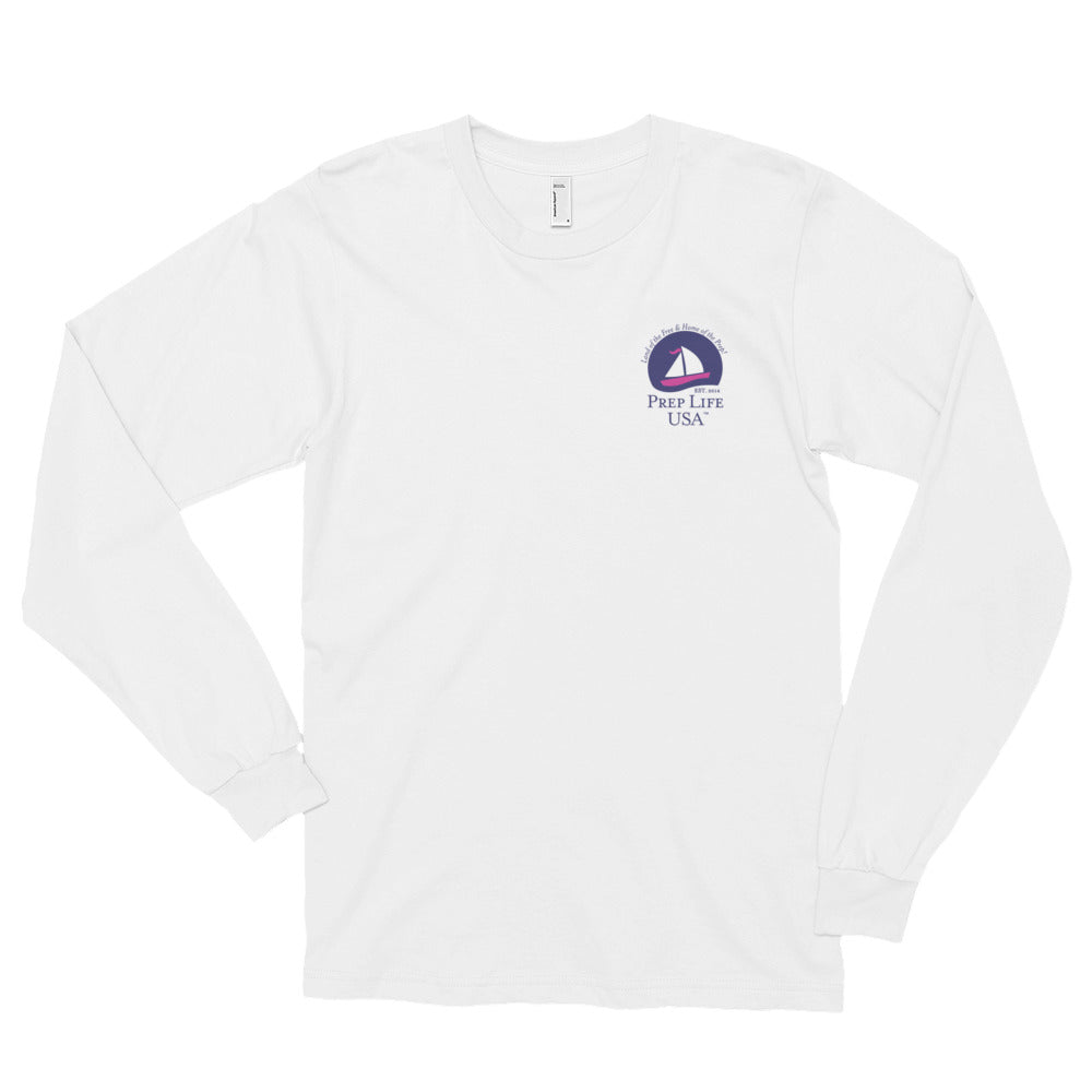 "Preppy Clothing - Support our Soldiers - Purple Wave Long Sleeve Tee - Use code ""FREE"" - for free shipping today! - PrepLifeUSA"