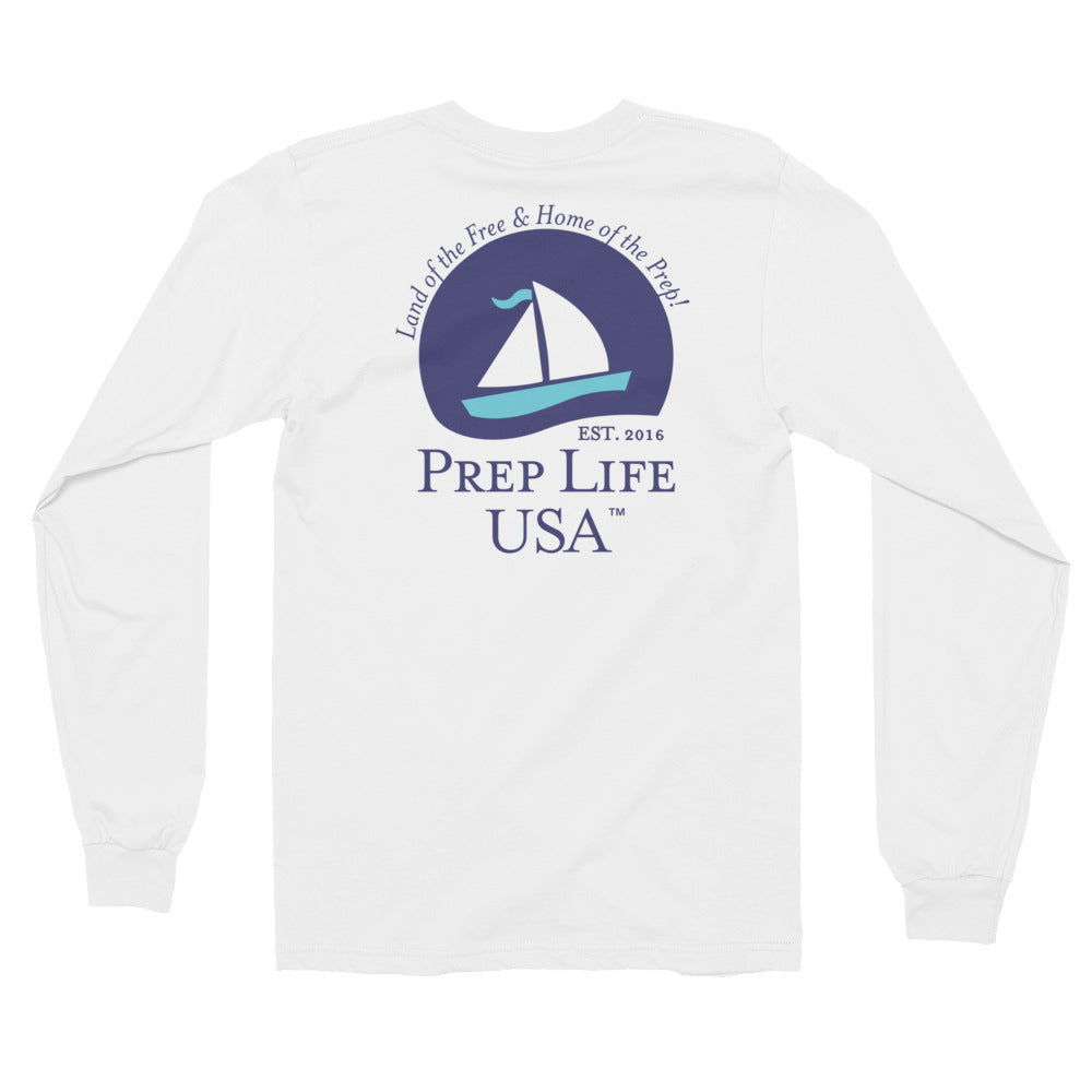 "Preppy Clothing - Support our Soldiers - Baby Blue Long Sleeve Tee - Use code ""FREE"" - for free shipping today! - PrepLifeUSA"