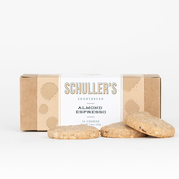 almond espresso shortbread cookies by Schuller's shortbread