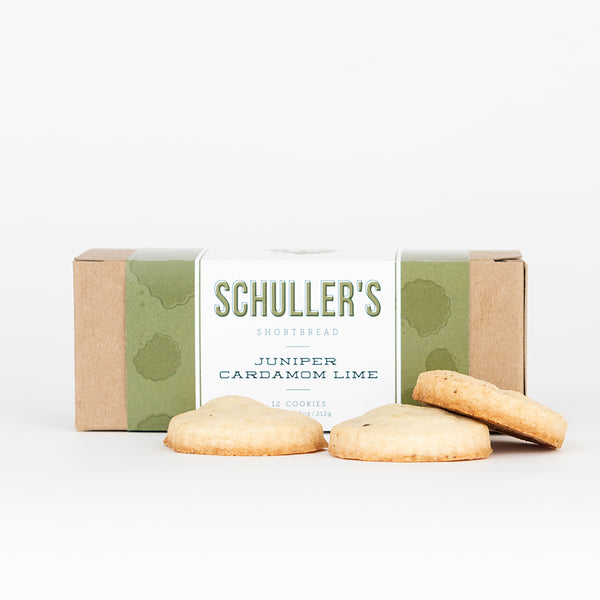 Schuller's shortbread cookies juniper and lime and cardamom