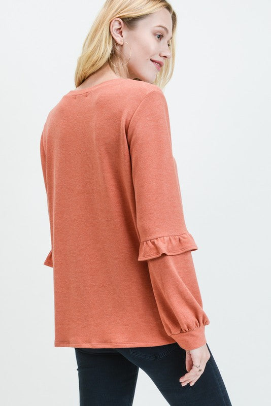 Julia Ruffle Sleeve Pullover Top - 2 colors