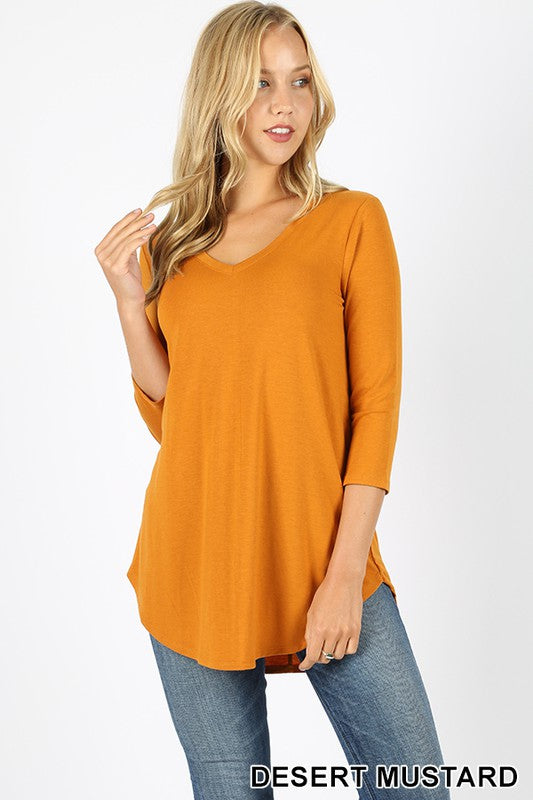 3/4 Sleeve My Daily Favorite Tee - many colors - all sales final