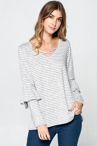 Ella Striped Ruffle Detail Top