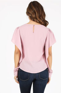 Blush Blouse with Cut Out Sleeves