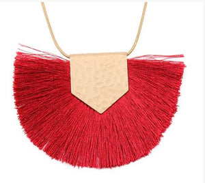 Betty Burgundy Bold Tassel Necklace