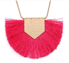 Load image into Gallery viewer, Heidi Hot Pink Tassel Necklace