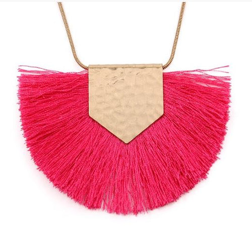 Heidi Hot Pink Tassel Necklace