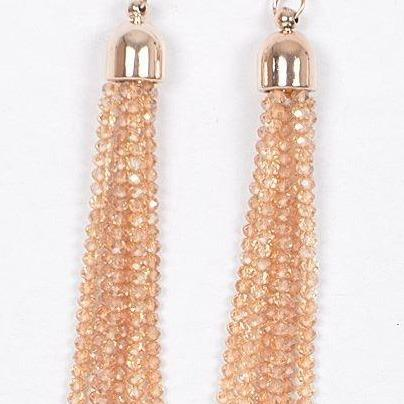 Beaded Fringe Earring - Taupe - All Sales Final
