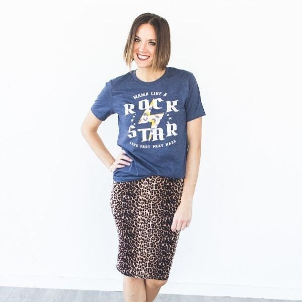 Mama like a Rock Star Graphic Tee - (up to XL) - all sales final