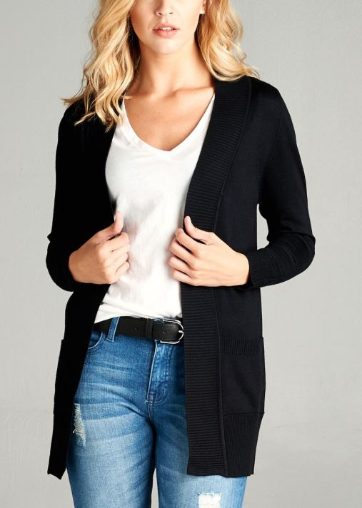Open Front Cardigan w/ Pockets up to 2XL - more colors