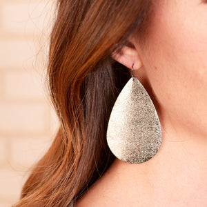Metal Tear Drop Earrings - 3 colors