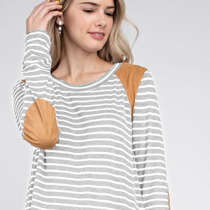 Striped top with Elbow Patch - 2 Colors