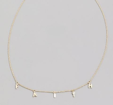 FAITH Message - Dainty Dangle style Necklace