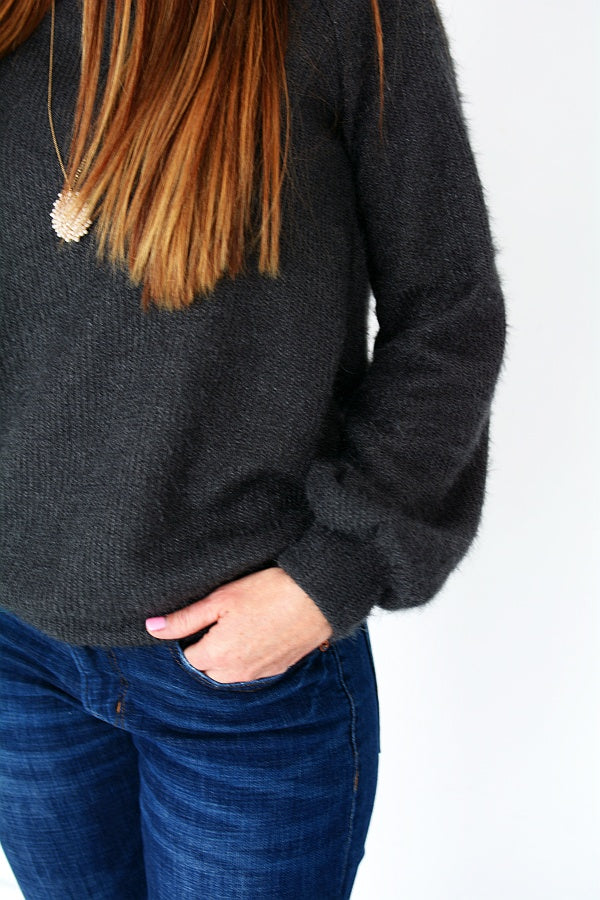 Fuzzy Sweater - Charcoal - all sales final