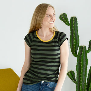 Happy Days Striped Tee - OLIVE