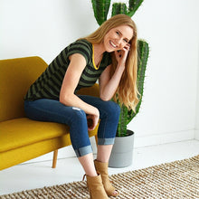 Load image into Gallery viewer, Happy Days Striped Tee - OLIVE - All Sales Final