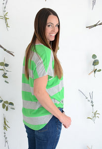 Striped GREEN Top with Front Tie