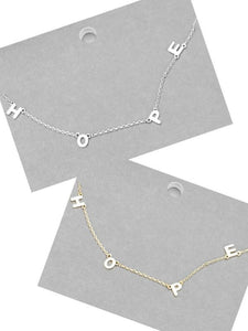 HOPE Message Necklace - 2 colors